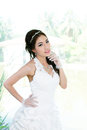 Young asian lady in white bride dress model is thai ethnicity Royalty Free Stock Photo