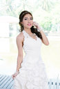 Young asian lady in white bride dress model is thai ethnicity Royalty Free Stock Image