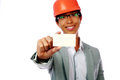 Young asian man with safety helmet holding blank card focus on card Stock Image