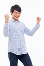 Young asian man showing fist happy sign isolated white background Stock Images