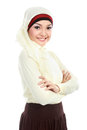 Young asian muslim woman in head scarf isolated over white background Stock Photography