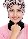 Young asian muslim woman in head scarf smile closed up of Stock Image