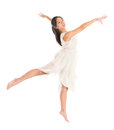 Young asian teen contemporary dancer modern poses in front of the studio background full length white Stock Image