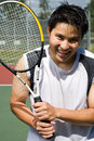 Young asian tennis player Royalty Free Stock Photo