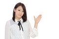 Young asian woman businesswoman hand showing blank sign Royalty Free Stock Photo