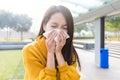 Young asian woman feel unwell feeling Stock Photo
