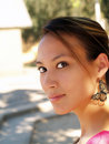 Young asian woman outdoor portrait Royalty Free Stock Photos