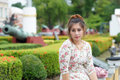 Young asian woman outdoor portrait model is thai Royalty Free Stock Image