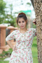 Young asian woman outdoor portrait model is thai Royalty Free Stock Photography