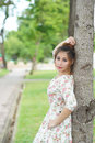 Young asian woman outdoor portrait model is thai Royalty Free Stock Photo