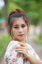 Young asian woman outdoor portrait model is thai Stock Image