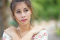 Young asian woman outdoor portrait model is thai Royalty Free Stock Photos