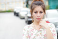 Young asian woman outdoor portrait model is thai Stock Photography