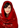 Young asian woman portrait wearing red head scarf isolated white Stock Image