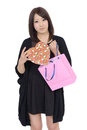 Young asian woman with present shopping bags and Stock Photo