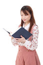 Young asian woman reading book Stock Images