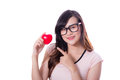 Young asian woman show heart hand sign. Royalty Free Stock Photo