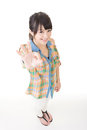 Young asian woman showing ok sign pretty isolated on the white background Royalty Free Stock Photography