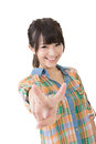 Young asian woman showing the peace or victory hand sign cute isolated on white background Royalty Free Stock Images