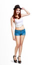 Young asian woman standing over white with clipping path Royalty Free Stock Images