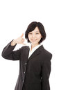 Young asian woman to imitate hand-Phone Stock Image