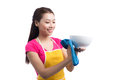 Young asian woman washed the dishes on white Royalty Free Stock Photo
