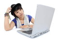 Young asian woman who is being confused with the laptop on white background Stock Photography