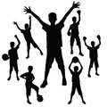 Young athlete silhouettes of the boy who celebrates sporting victory Stock Photography