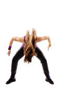 Young athletic woman doing dance moves studio shot of modern isolated over white background Royalty Free Stock Image