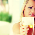 Young atractive blonde and beer Royalty Free Stock Photo