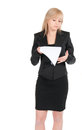Young attractive business woman blank sheet paper isolated white Royalty Free Stock Photography