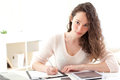 Young attractive business woman copying data on paper view of a Royalty Free Stock Photography