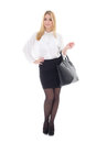 Young attractive business woman with handbag isolated on white background Stock Photo