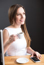 Young attractive business woman having coffee cup Royalty Free Stock Photo