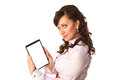Young attractive business woman holding tablet pc with touch pad isolated on white Stock Photo