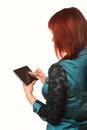 Young attractive business woman holding tablet pc with touch pad isolated on white Stock Photos