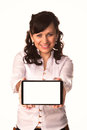 Young attractive business woman holding tablet pc with touch pad isolated on white Royalty Free Stock Images