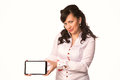 Young attractive business woman holding tablet pc with touch pad isolated on white Stock Image