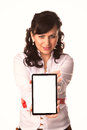 Young attractive business woman holding tablet pc with touch pad isolated on white Royalty Free Stock Image