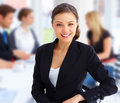 Young attractive business woman in a meeting Stock Images