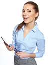 Young attractive business woman uses a mobile tablet computer with touch screen Royalty Free Stock Photo