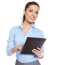 Young attractive business woman uses a mobile tablet computer with touch screen Royalty Free Stock Images