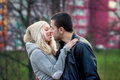 Young attractive couple in love, teenagers having fun outdoors, Royalty Free Stock Photo