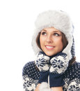 Young attractive girl in Scandinavian clothes Stock Photos