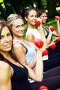 Young and attractive girls doing fitness exercises Royalty Free Stock Photo