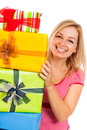 Young attractive happy woman with gifts Royalty Free Stock Photos