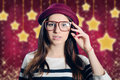 Young attractive lady in hipster glasses on starry Royalty Free Stock Photo