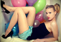 Young attractive woman and baloons Royalty Free Stock Photo