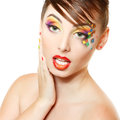 Young attractive woman with beautiful art cube abstract make-up Royalty Free Stock Photo