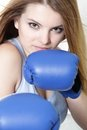 Young attractive woman boxer Stock Photos